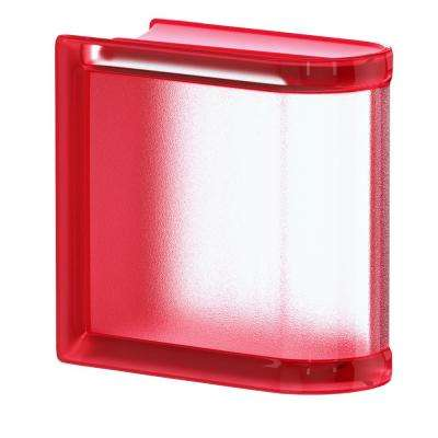 Cherry 5.75 in. x 5.75 in. x 3.15 in. Classic Red End Linear Glass Block