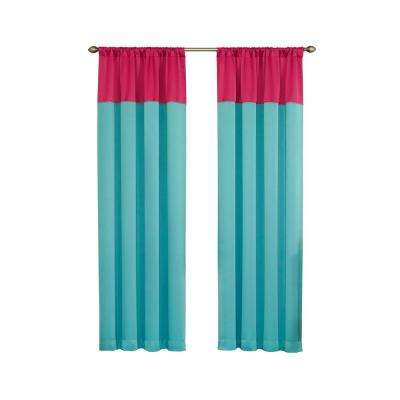 Blackout 84 in. L Raspberry Polyester Rod Pocket Curtain