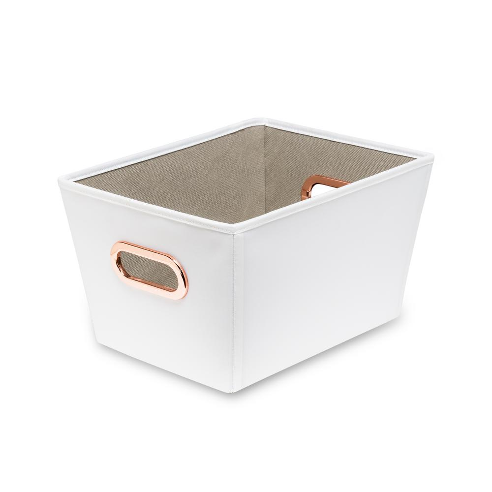 17 Qt. White with Copper Handles Canvas Tote