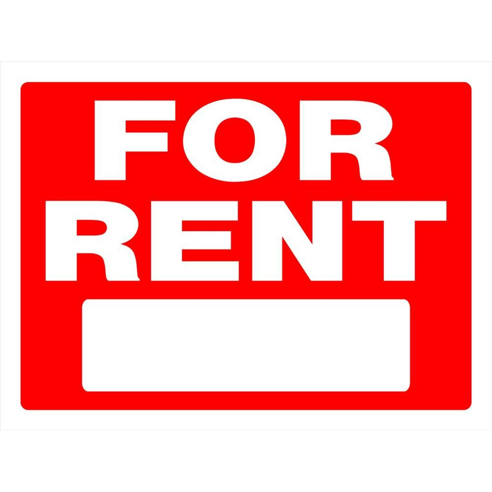 Rent Home: 18 In. X 24 In. Red And White Plastic For Rent Sign-840243