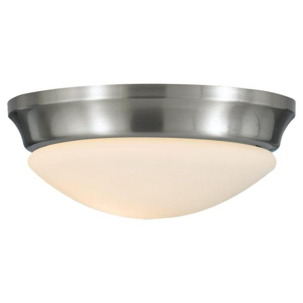 Barrington 10 in. W 1-Light Brushed Steel Flush Mount with Opal Etched Glass
