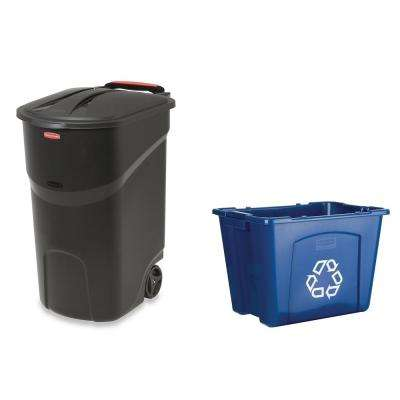 Roughneck 45 Gal. Black Wheeled Trash Can with 14 Gal. Recycling Bin