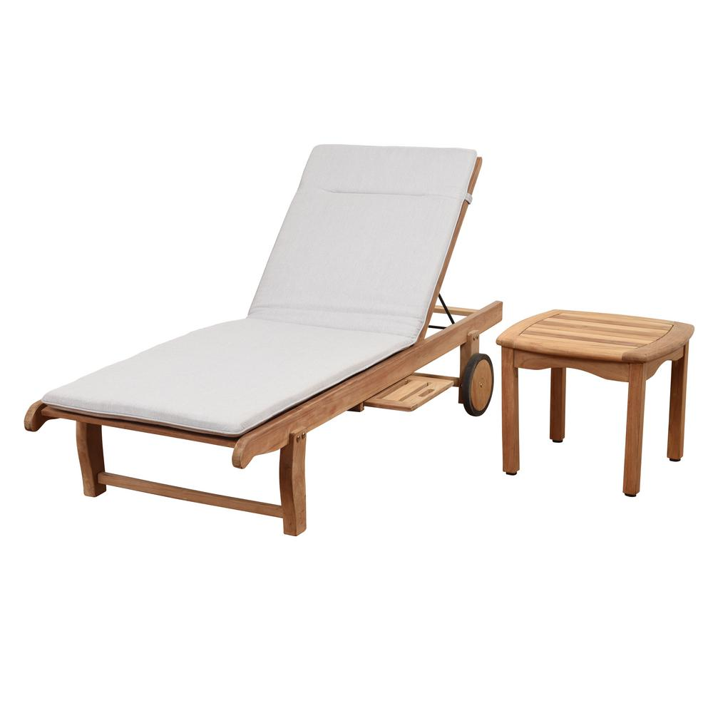 Cairo 2-Piece Teak Outdoor Chaise Lounge with Light Grey Cushions