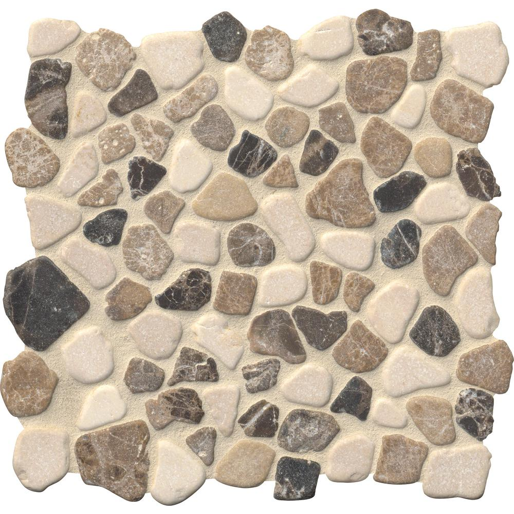 MSI Mix Marble Pebbles 11.42 in. x 11.42 in. x 10 mm Tumbled Marble Mesh-Mounted Mosaic Tile