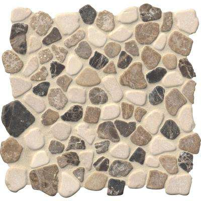Mix Marble Pebbles 11.42 in. x 11.42 in. x 10 mm Tumbled Marble Mesh-Mounted Mosaic Tile (0.91 sq. ft.)