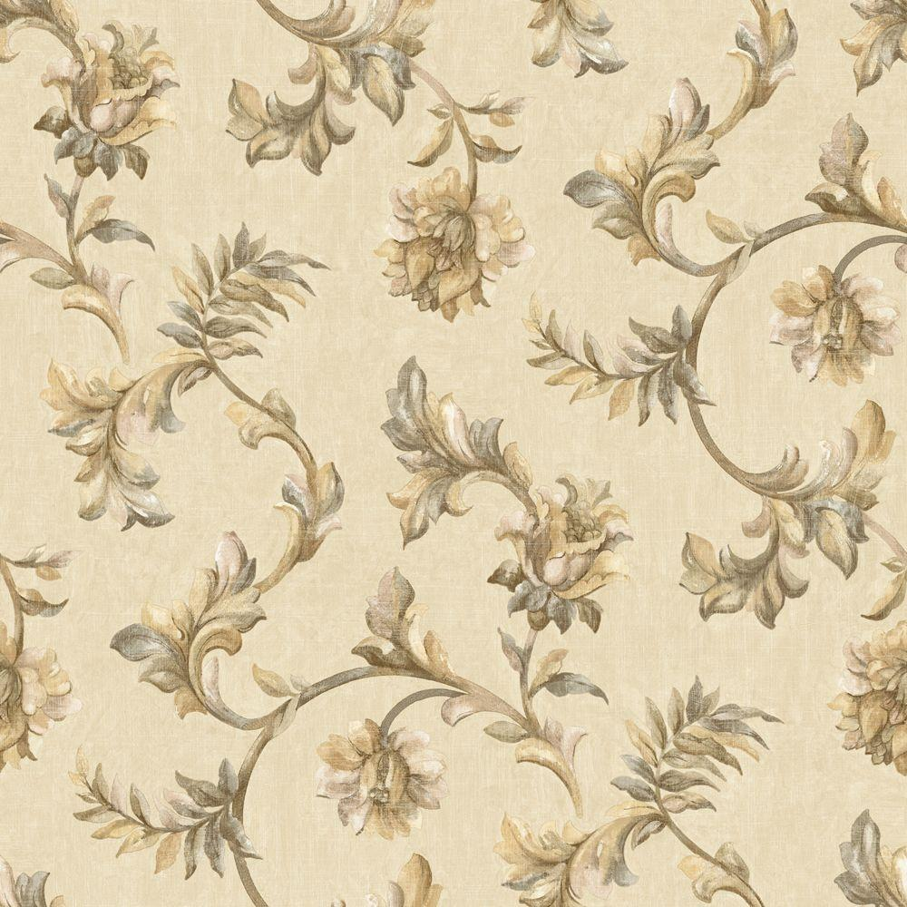 The Wallpaper Company 8 in. x 10 in. Neutral Jacobean Tapestry Wallpaper Sample