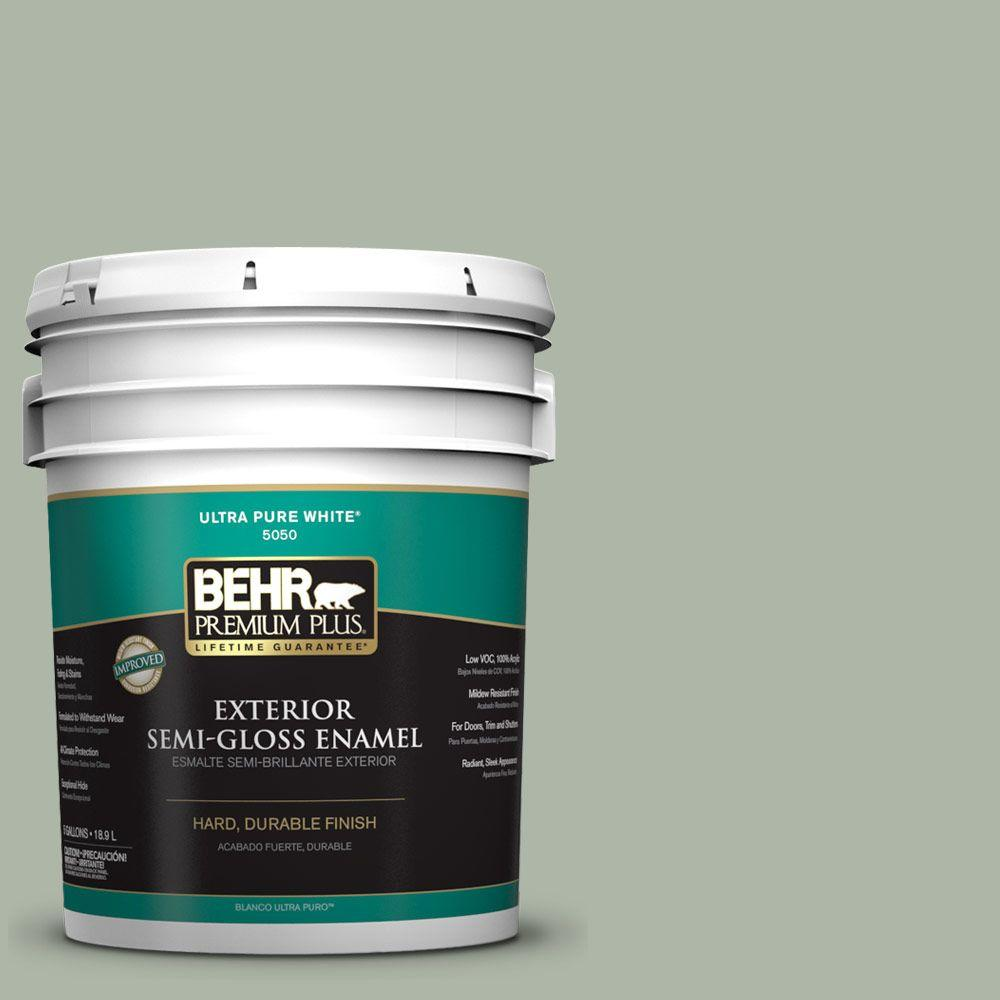BEHR Premium Plus 5-gal. #ICC-56 Green Tea Semi-Gloss Enamel Exterior Paint