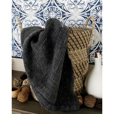20 in. x 19 in. Brown, Black, and White Corded Seagrass Tapered Basket with Arched Handles