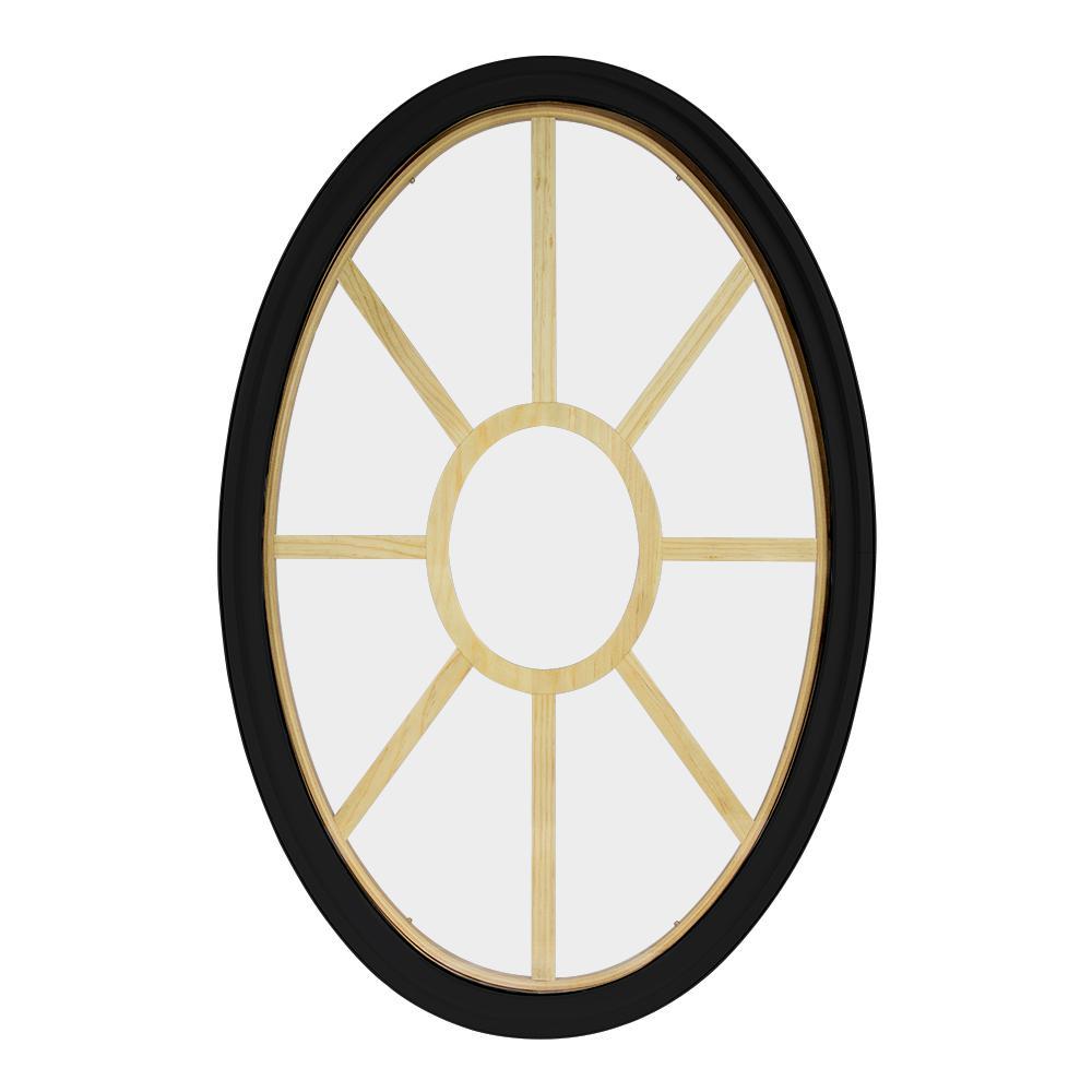 30 in. x 48 in. Oval Black 4-9/16 in. Jamb 3-1/2 in. Interior Trim 9-Lite Grille Geometric Aluminum Clad Wood Window