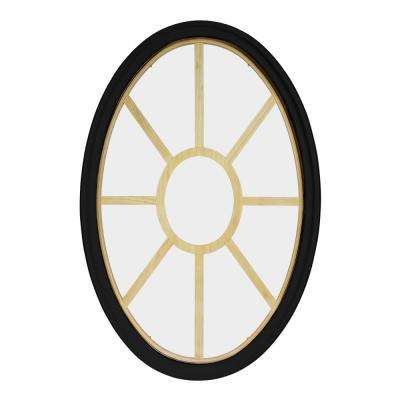 36 in. x 60 in. Oval Black 6-9/16 in. Jamb 9-Lite Grille Geometric Aluminum Clad Wood Window