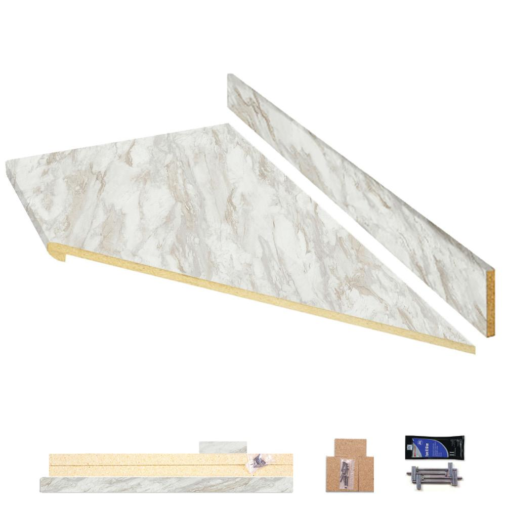 Hampton Bay 8 Ft Laminate Countertop Kit With Right Miter In Drama Marble And Ora Edge 12349kt08r5010 The Home Depot