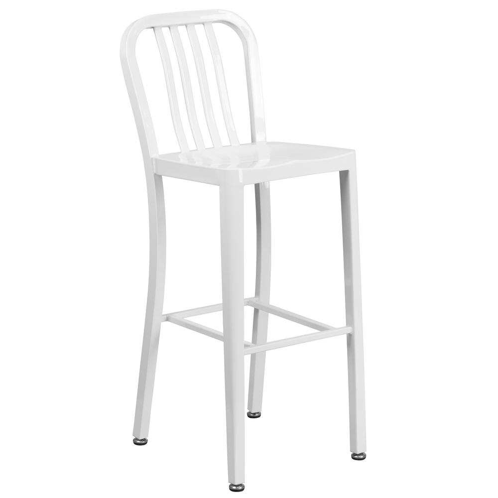 Flash Furniture 30 25 In White Bar Stool Ch6120030wh