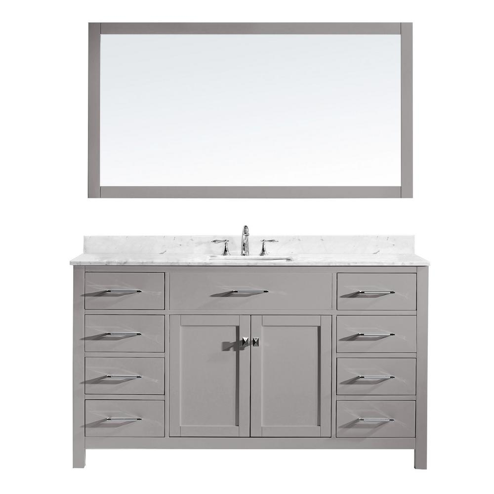Virtu USA Caroline 60 in. W Bath Vanity in Cashmere Gray with Marble Vanity Top in White with Square Basin and Mirror