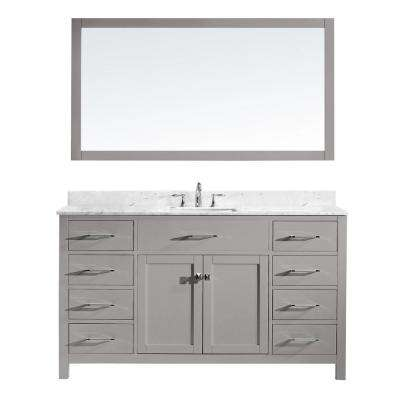 Caroline 60 in. W Bath Vanity in Cashmere Gray with Marble Vanity Top in White with Square Basin and Mirror