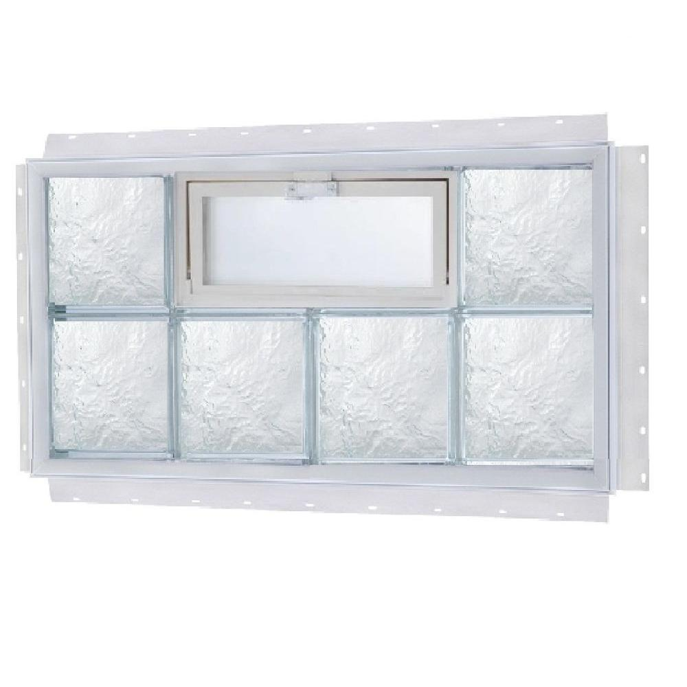 TAFCO WINDOWS 32 in. x 24 in. NailUp Vented Ice Pattern Glass Block Window