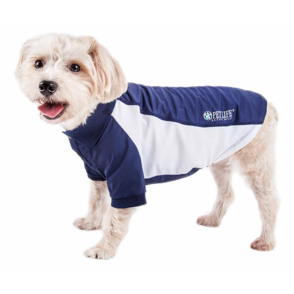 Pet Life Large Navy Active Barko Pawlo Relax Stretch Performance Dog Polo T Shirt Plhl1nvlg The Home Depot