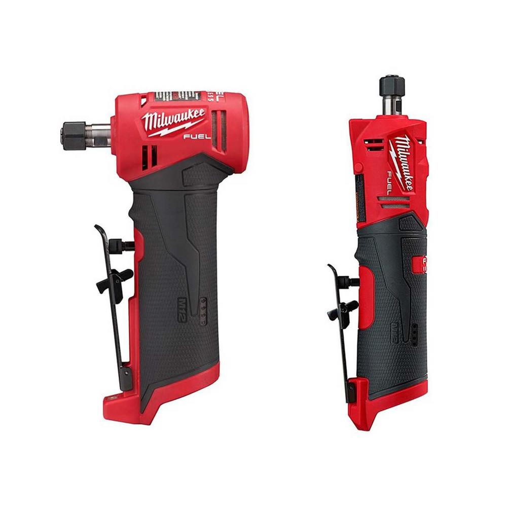 Milwaukee M12 FUEL 12-Volt Lithium-Ion Brushless Cordless 1/4 in. Right Angle and Straight Die Grinder Kit (Tool-Only Kit)