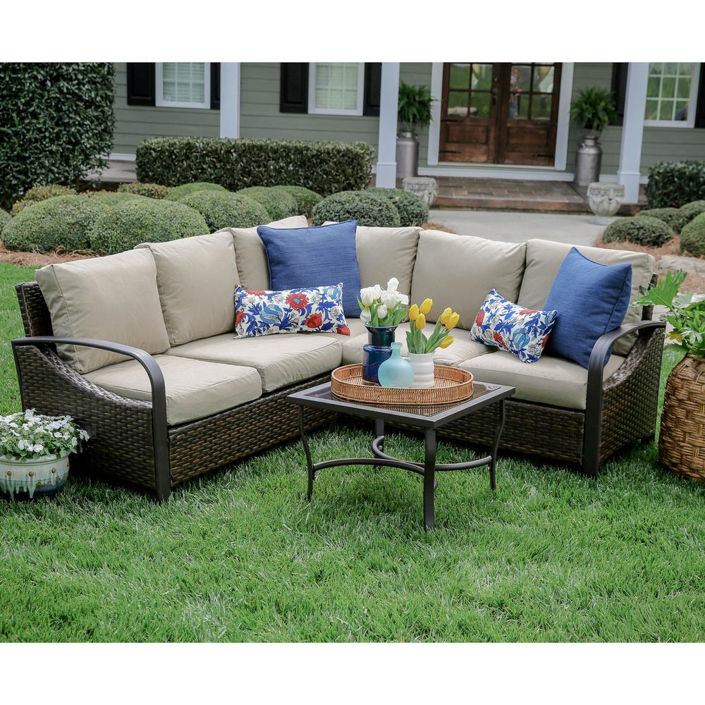 Trenton 4 Piece Wicker Outdoor Sectional Set With Tan Cushions 490045 Tan The Home Depot