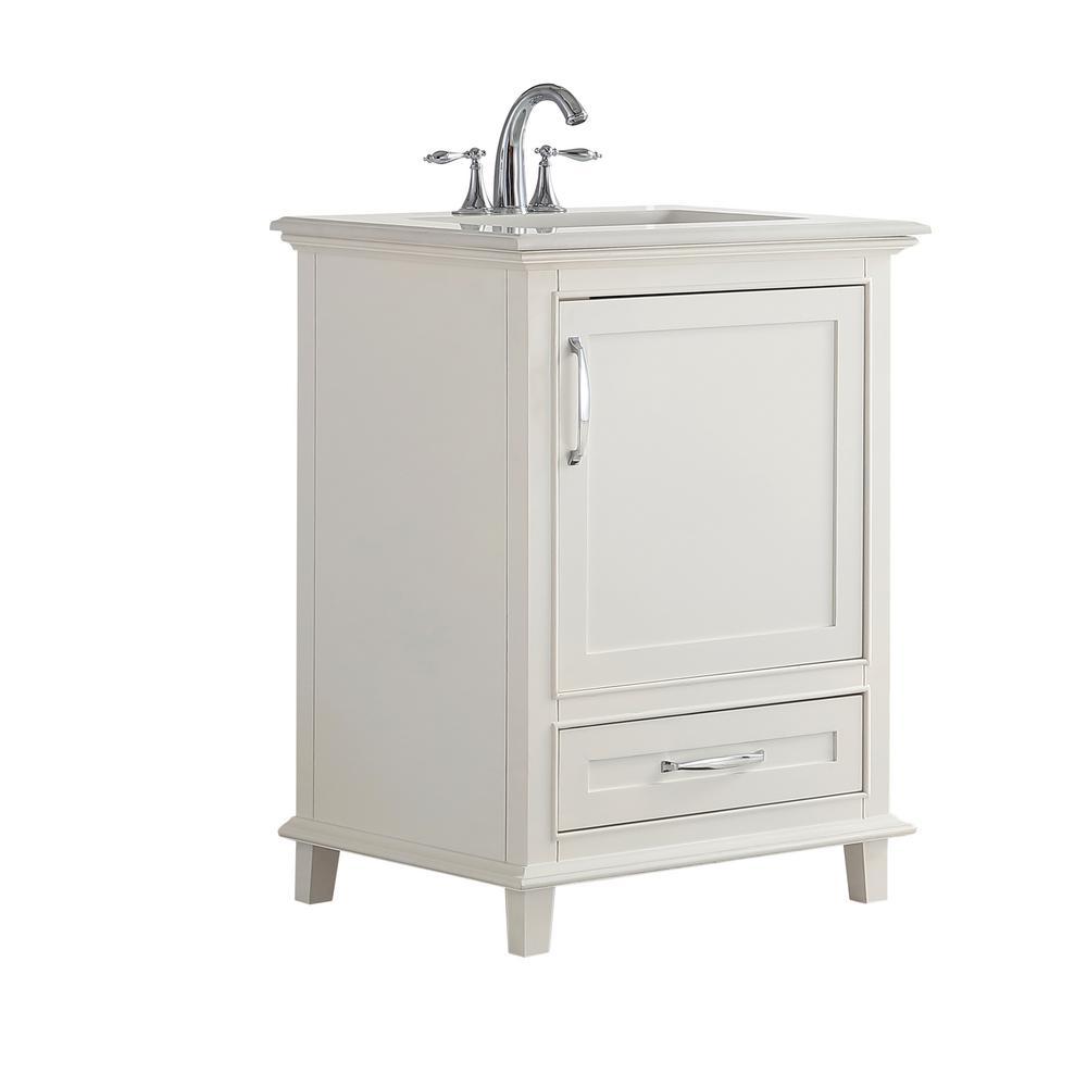 Simpli Home 25 In W X 21 5 In D X 34 5 In H Bath Vanity In Soft White W Engineered Stone