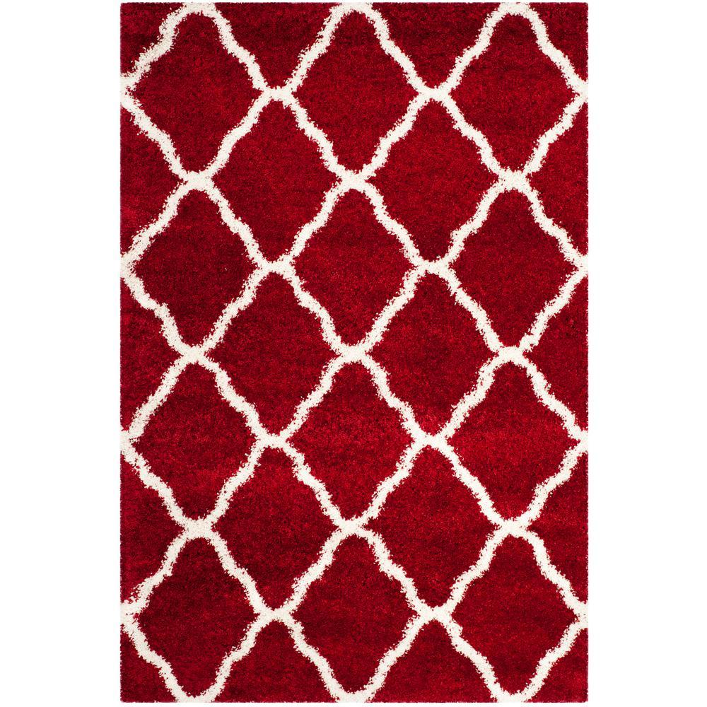 Hudson Shag Red/Ivory 6 ft. x 9 ft. Area Rug