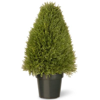 30 in. Upright Juniper Artificial Tree in Green Round Growers Pot