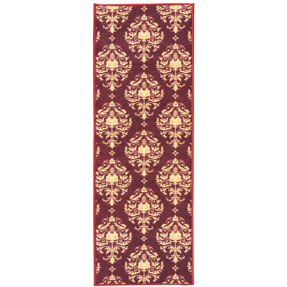 Sweet Home Collection Damask Design Red 2 ft. x 5 ft. Indoor Runner Rug