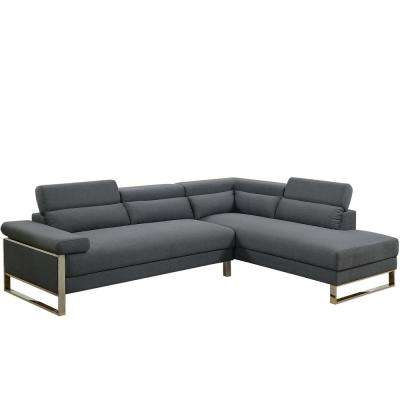 2-Piece Charcoal Glossy Polyfiber (Linen-Like Fabric) Sectional Sofa with Moving Headrest