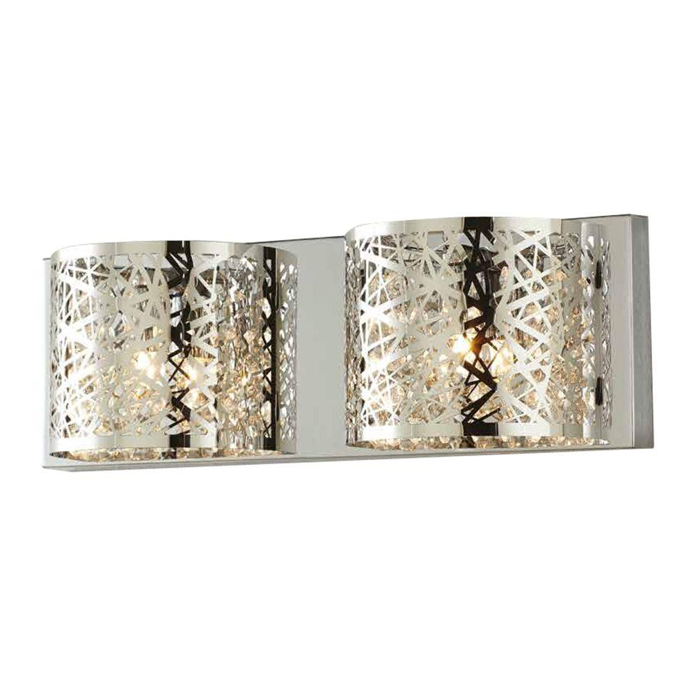 Home Decorators Collection Carterton 2-Light Chrome Vanity Light with Crystal Accents
