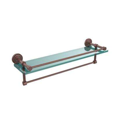 Dottingham 22 in. L  x 5 in. H  x 5 in. W Clear Glass Bathroom Shelf with Towel Bar in Antique Copper
