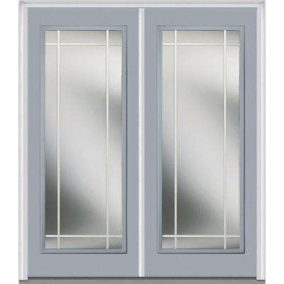 60 in. x 80 in. Prairie Internal Muntins Right-Hand Inswing Full Lite Clear Glass Painted Steel Prehung Front Door