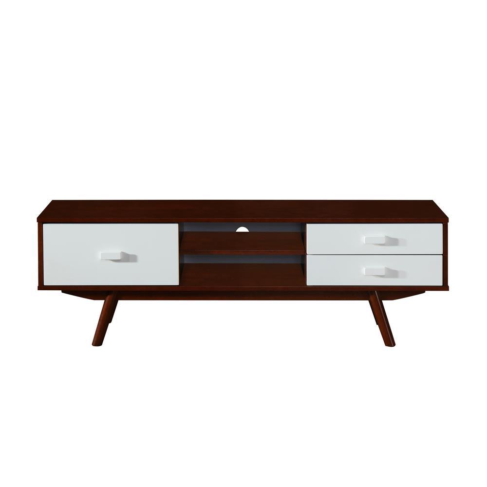 Walnut Retro Wood Veneer 65 in. TV Stand with Storage