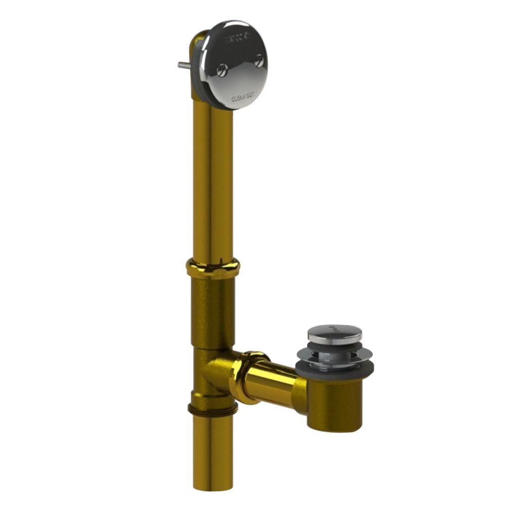 Watco 551 Series 24 in. Tubular Brass Bath Waste with Foot Actuated Bathtub Stopper in Chrome Plated