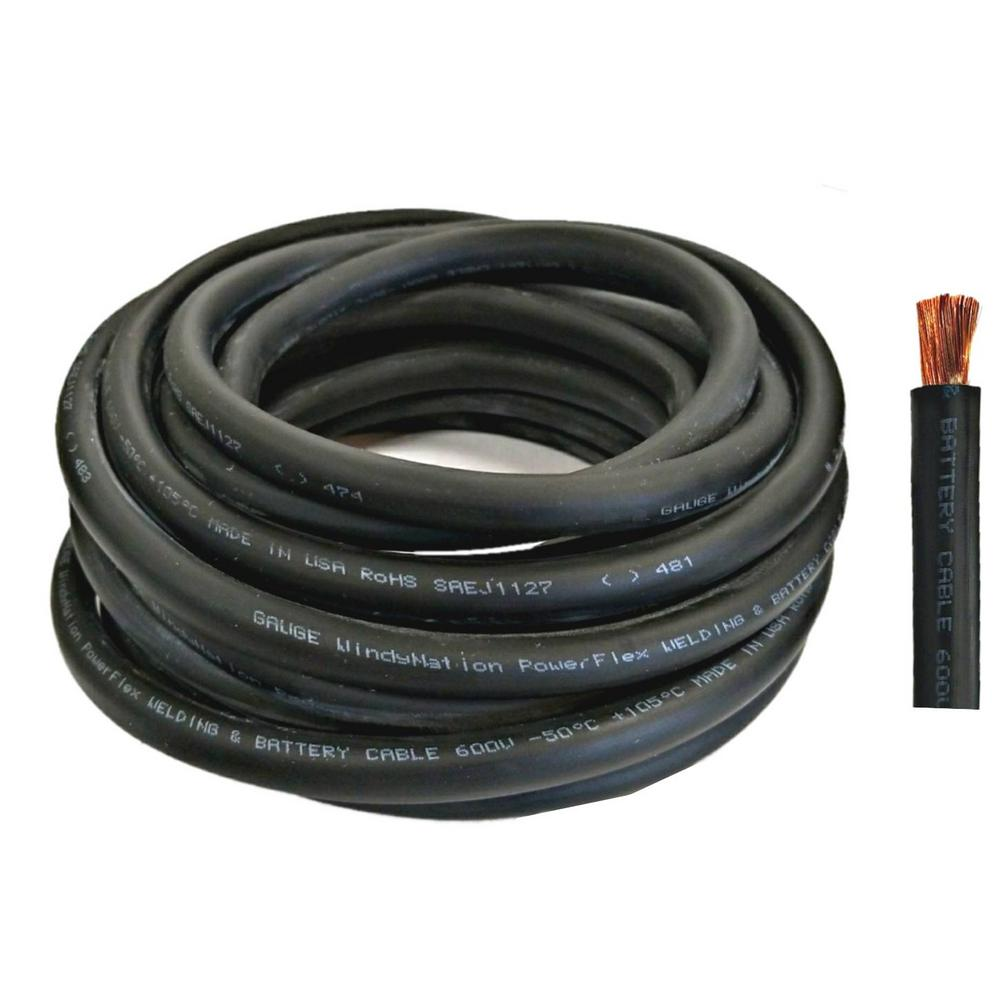Windynation 20 Ft 2 0 Gauge Black Welding Battery Pure Copper Flexible Cable Wire 2 0 Awg 20b 2 0g 20b The Home Depot