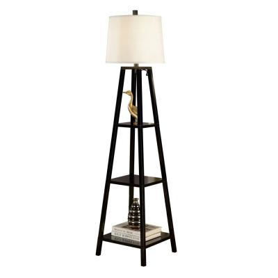 Elliot Modern 63 in. Java-Black 3-Tiered Wood Floor Lamp