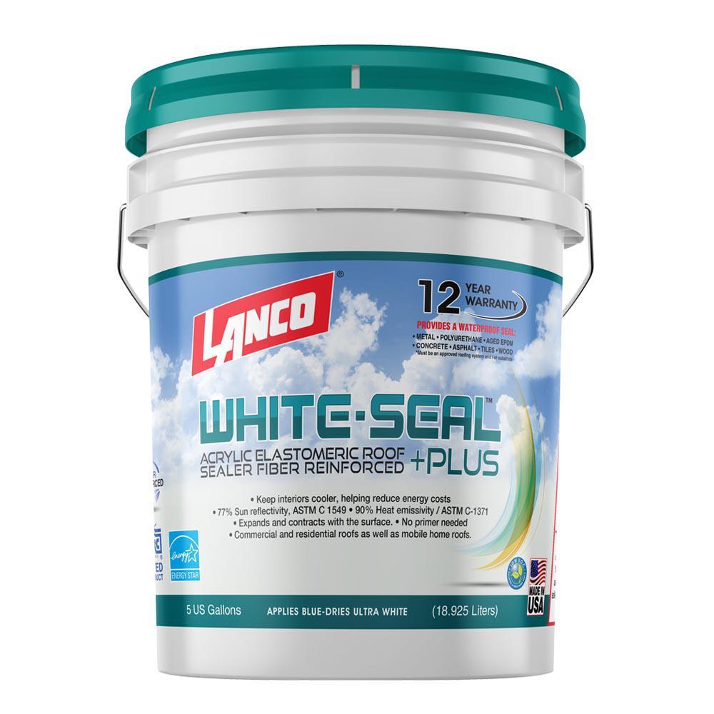 5 Gal. White-Seal Plus 100% Acrylic Elastomeric Reflective Roof Coating with High UV-Ray Reflectance