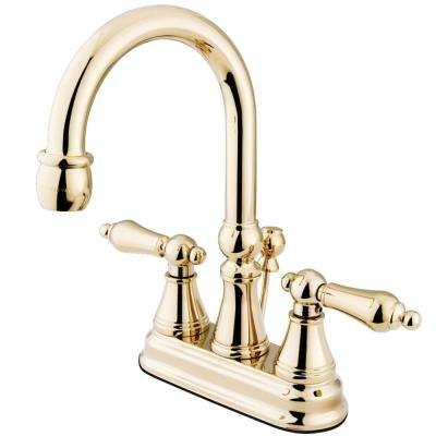 Governor 4 in. Centerset 2-Handle Bathroom Faucet in Polished Brass