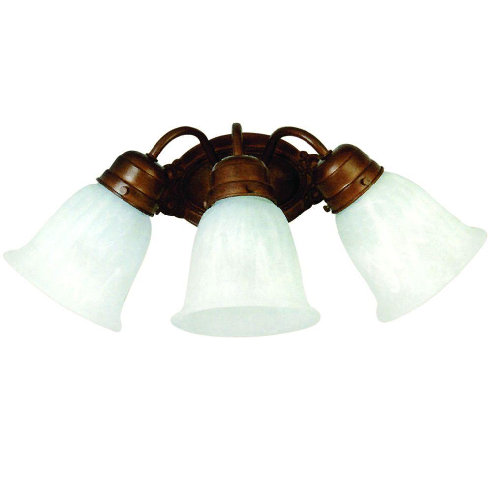 Vanity Lighting Series 3-Light Dark Brown Frame Bathroom Vanity Light with White Marble Glass Shade