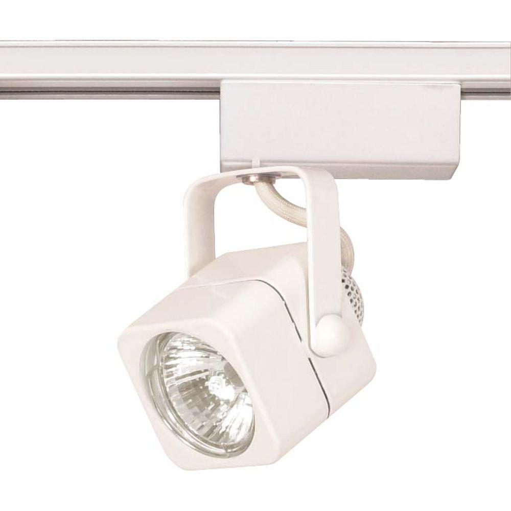 Glomar 1-Light MR16 12-Volt White Square Track Lighting Head