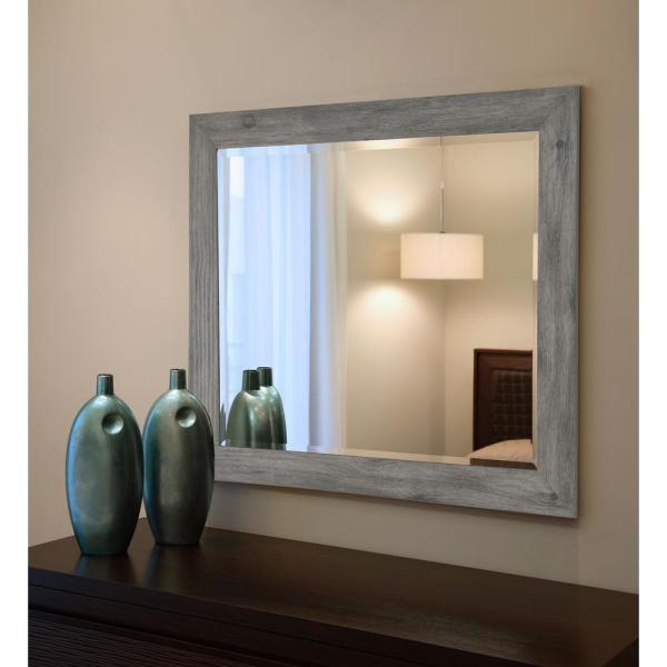 undefined 31.5 in. x 27.5 in. Gray Barnwood Beveled Vanity Wall Mirror
