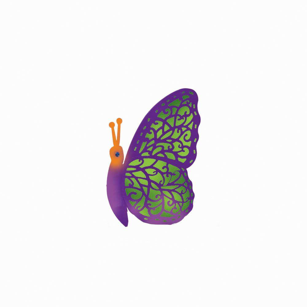 null 12 in. Purple Solar Crazy Critter Butterfly with Green Light