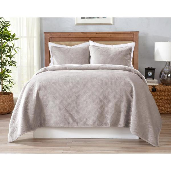Great Bay Home Velvet Reversible Light Taupe Twin Quilt Set (3-Piece)