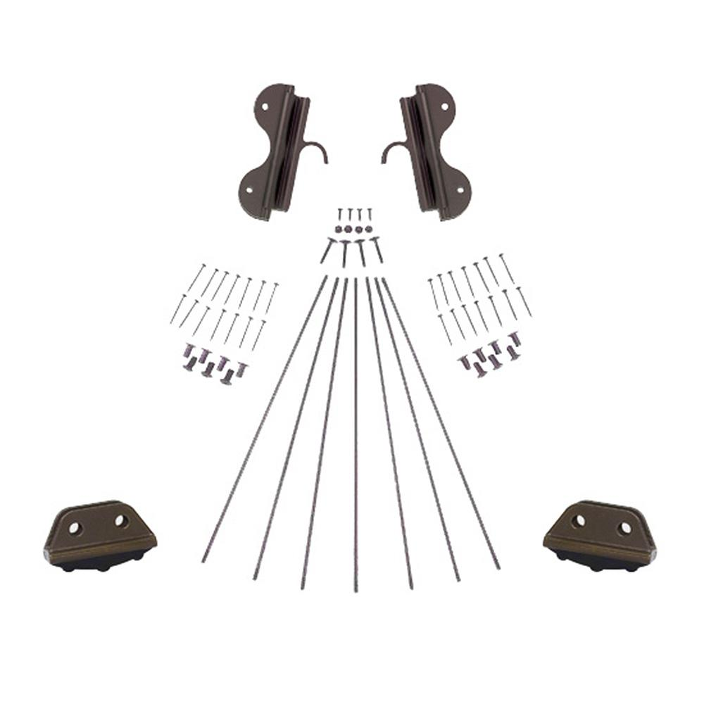 Oil Rubbed Bronze Single Hook Non-Rolling Ladder Hardware Kit for 20