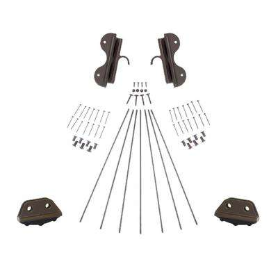 Oil Rubbed Bronze Single Hook Non-Rolling Ladder Hardware Kit for 20 in. W Ladders