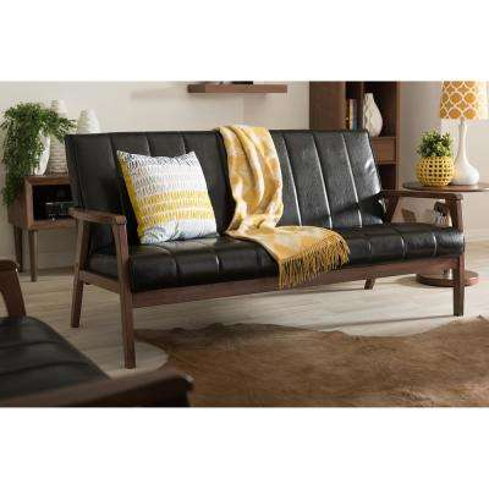 Nikko Mid-Century Black Faux Leather Upholstered Sofa