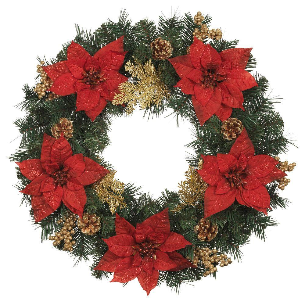 Home Accents Holiday 24 in. Silk Poinsettia Artificial Wreath with Gold Fern Sprigs and Pinecones