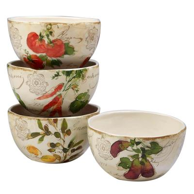 Piazzette 4-Piece Multi-Colored 6 in. x 3 in. Ice Cream Bowl Set
