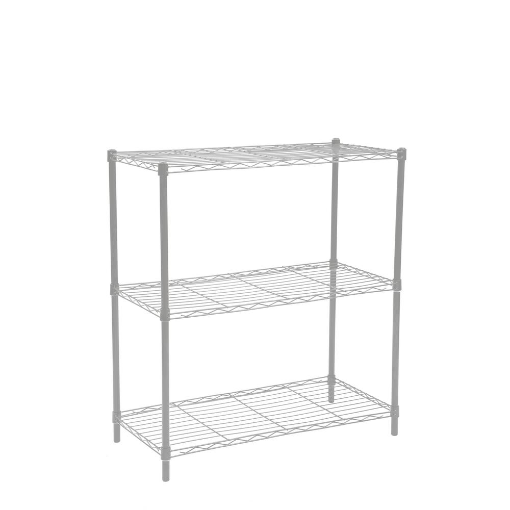 Wide Wire Grey 3-Tier Shelf