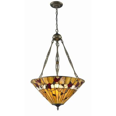 Tiffany Style 2-Light Bronze Spring Blossom Hanging Lamp