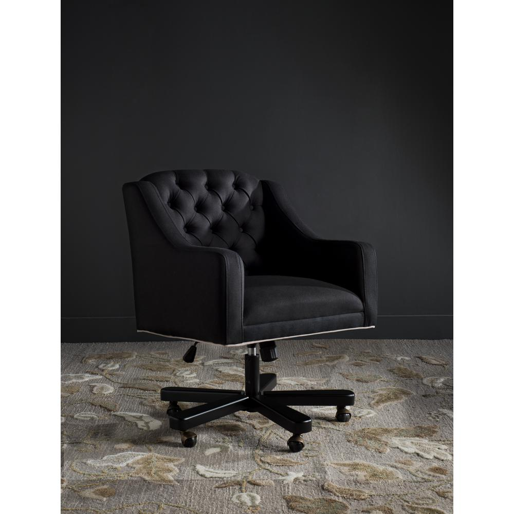 Safavieh Salazar Black Taupe Linen Office Chair