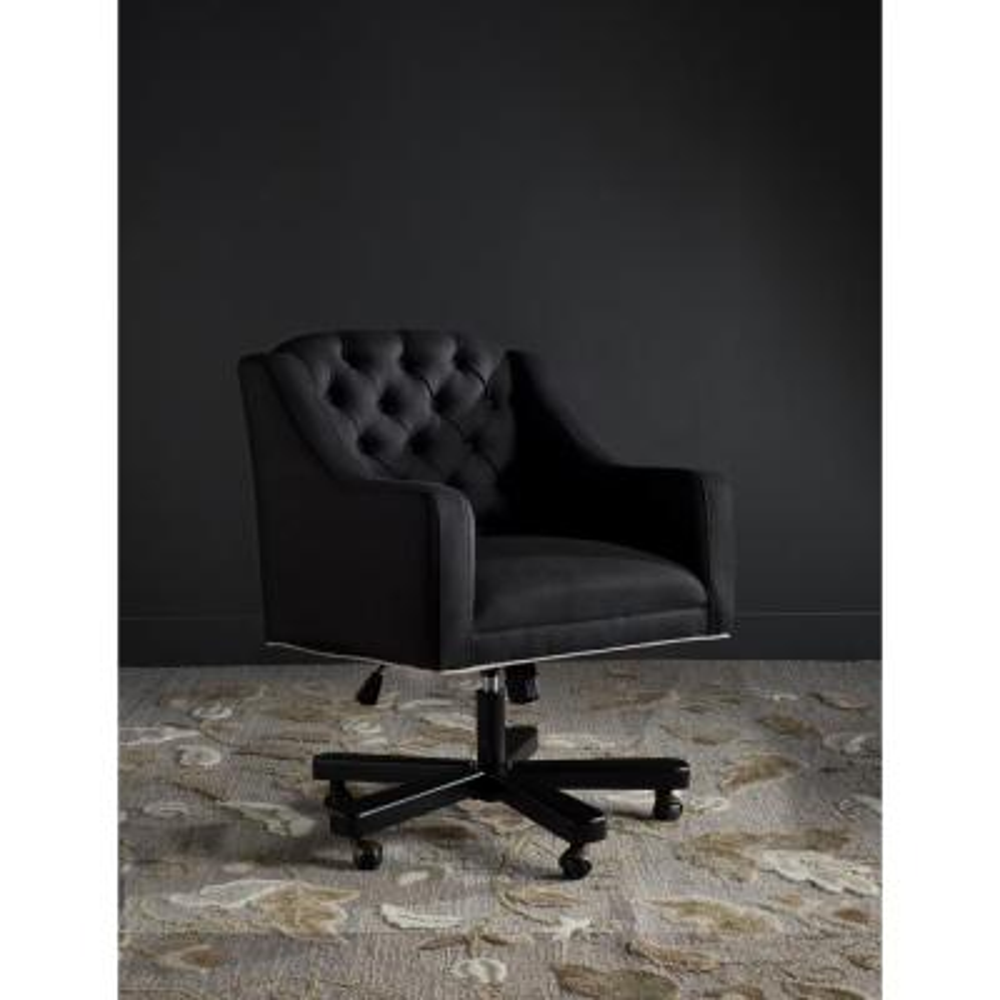 Salazar Black/Taupe Linen Office Chair